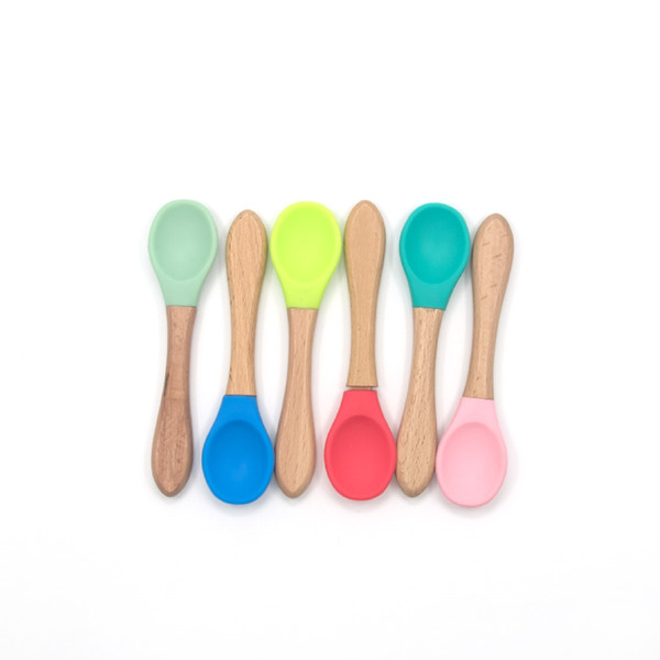 best selling Bamboo Baby Feeding Spoons with Soft Curved Silicone Tips for Toddlers and Infants Food Grade Silicone Scoop Baby Feeding Utensils