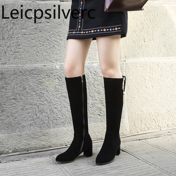 women's boots autumn and winter the new round head zipper fringe thick heel mid heel high tube women's shoes plus size 32-45