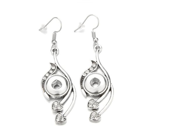12mm Silver Water Drop Snap Earrings For Women Simple Designed Fit Snap Button Party Jewelry Earring Best Girl Women Mother Gift