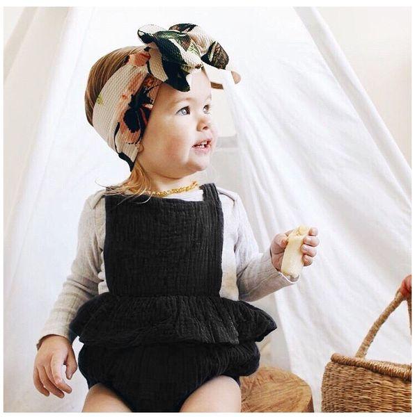 Pure Black Baby Girls Sleeveless Rompers Dresses New Arrival Newborn Girls Bodysuits One-piece Sleeveless Belt Blackless Girls Jumpsuit