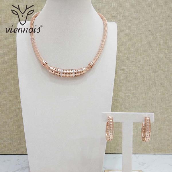 Viennois New Rose Gold Jewelry Set per le donne Orecchini Geomertic Collana Set gioielli partito