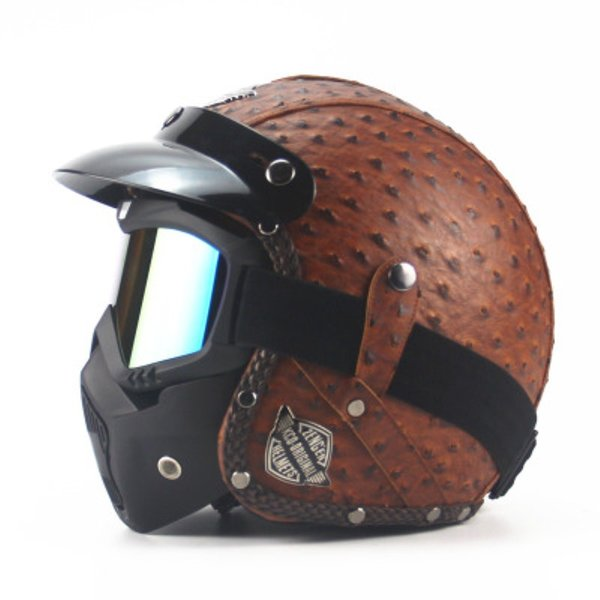 MOTOGP Retro Open Face Helmet Four Seasons Personality Vintage Dot Certification Helmet Motorcycle Motor Car 3/4 Leather Half Helmet Unisex