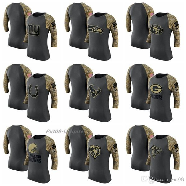 Women New York Giants Seahawks Texans Packers Browns Bears Falcons Salute to Service Performance 34-Sleeve Raglan T-Shirt