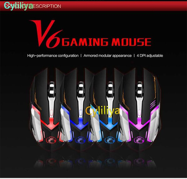 720618bc726 iMice V6 Professional Wired Gaming Mouse 2400DPI USB Optical Wired Mouse  Mice 6 Buttons Computer Gamer Mouse For LOL Dota2 CS