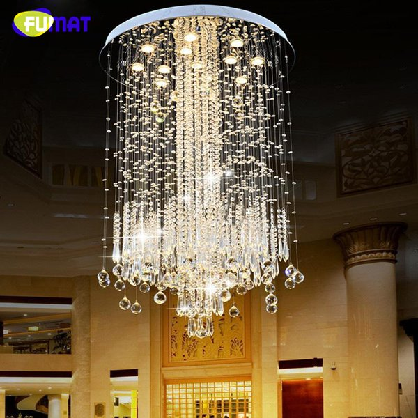 FUMAT K9 Crystal Chandelier Lights Modern Crystal Chandeliers Lamps Para Villa Penthouse Spiral LED K9 Crystal Chandeliers Lamp
