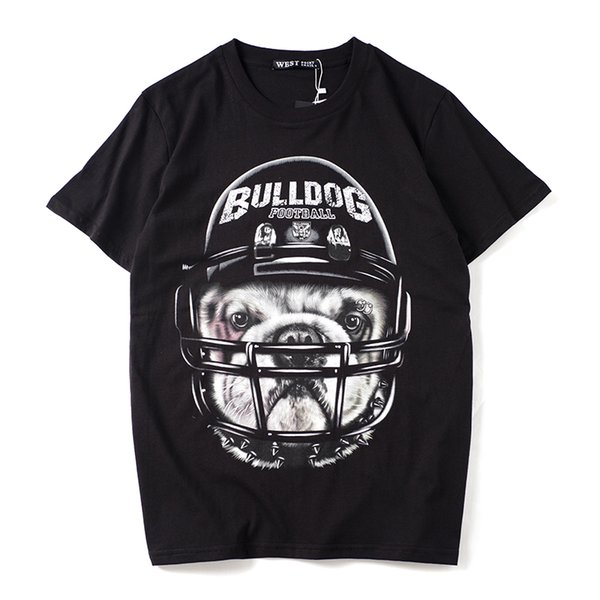 2019 latest HOT best Quality Helmet Dog Head Printing HOT SELL Summer clothes Short sleeved Fashion Trend JOKER T-SHIRTS TOPS