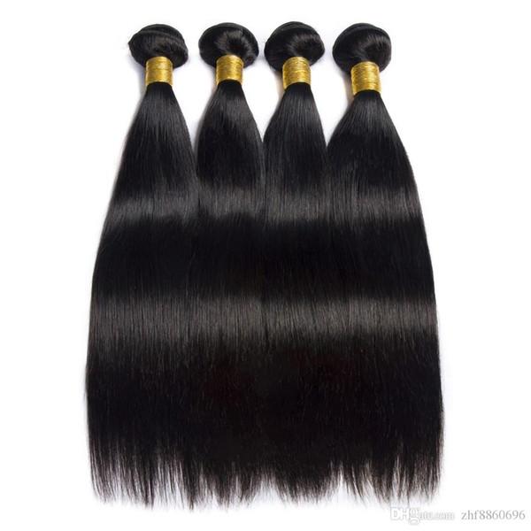 Paquetes de armadura de cabello recto brasileño Paquetes de cabello humano 100% Extensiones de cabello no remy natural 3 o 4 paquetes pueden comprar