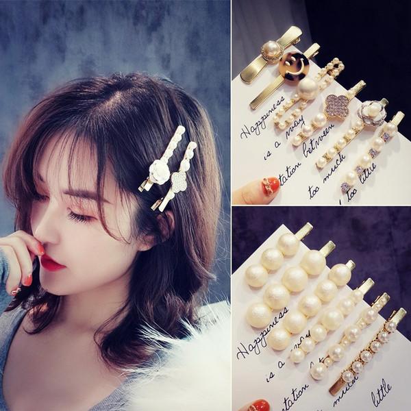 2019 nova versão coreana do ouro escovado acessórios de cabelo ins rede vermelho Dongdaemun pérola hairpin pasta atacado