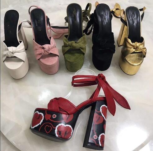 New feminino boate sandálias de salto alto robusto salto plataforma impermeável sexy sandálias de couro bowtie sandálias 16.5 cm verão mulheres