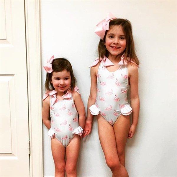 Bebek çocuk mayo 12 M-5Y Flamingolar Baskılı Yaz Çocuk Kız Ilmek Giyim Beachwear Mayo Çocuklar Giysi Tasarımcısı Kızlar JY36
