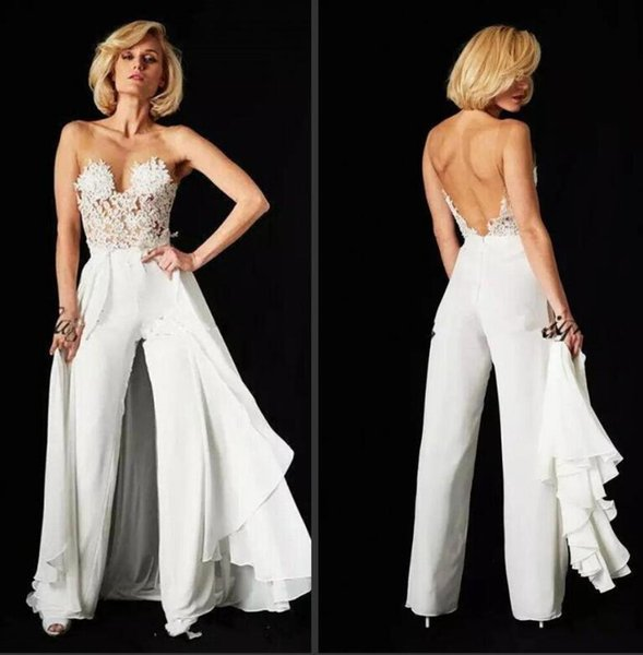 Woman Jumpsuit Evening Dresses Sheer Mesh Top Chiffon Lace Applique Floor Length Backless Formal Party Gowns with Over Skirts