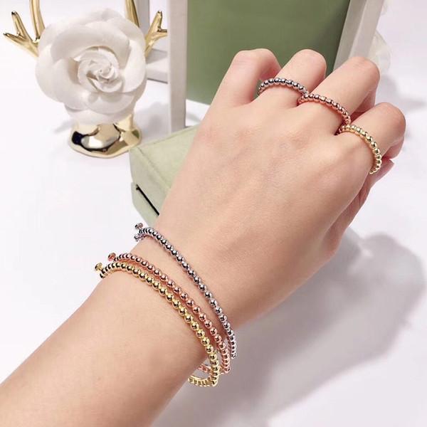 2019 Moda Klasik Marka Bileklik Lüks Rose Gold Gümüş İnce Cila Boncuk Bilezik İçin Kadınlar Düğün Tasarımcı Takılar