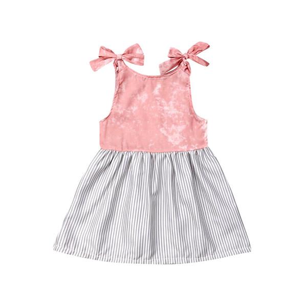 Recién nacido Infant Toddler Kids Niños Bebés de Verano Lindo Sin Mangas A Rayas A-Line Princesa Vestido de Sundress Ropa Traje Ropa