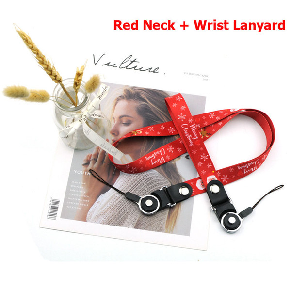 Universal Lanyard Christmas Cell Phone Straps Neck Wrist Hang Rope for iPhone Samsung Detachable Cartoon Keychain for Kids ID Card Camera