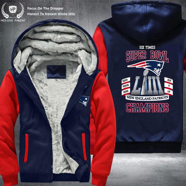 Dropshipping USA Taille New England Etat unisexe Hommes Épaissir Zipper Sweat à capuche en laine Costume Survêtement fait
