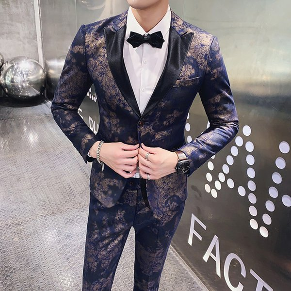 Thickened faux fur cloth host stage costumes groom dress night field suit two-piece suit (Jacket + pants)