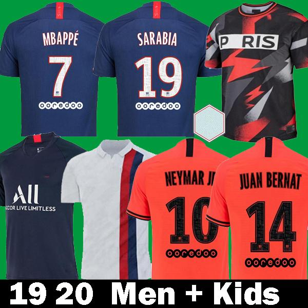 best selling 19 20 Maillots de foot PSG soccer jersey 2019 2020 camisetas Kids Paris MBAPPE MARQUINHOS GANA champions SARABIA Long Football Shirts kits