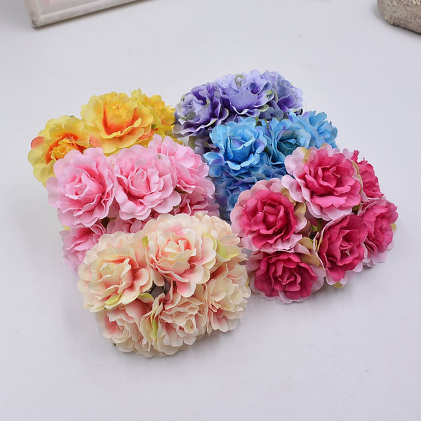 5cm Silk Blooming Tree Peony Artificial Flowers for Wedding Party Home Hats Shoes Decoration DIY Marriage Wreath Plants
