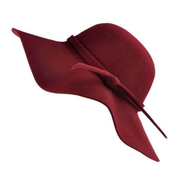 New Summer Women's Lady with Wide Brim Wool Felt Bowler Fedora Hat Floppy Cloche Sun Beach Bowknot Cap
