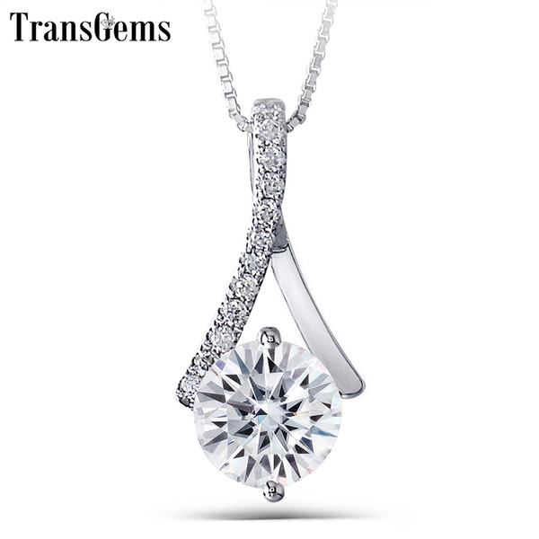 Transgems Genuine 14k 585 White Gold 1.64ctw 7.5mm Round Brilliant Gh Color Moissanite Pendant With Accent Necklace For Women Y19032201