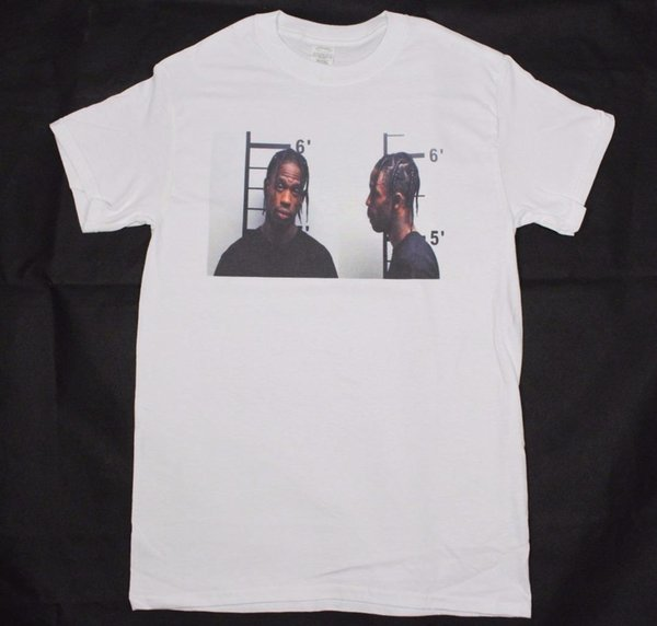 Travis Scott mugshot T-Shirt Branco S-XXXL lil Uzi Vert pós malone hiphop rodeo medo cosplay liverpoott tshirt mens orgulho t-shirt escuro