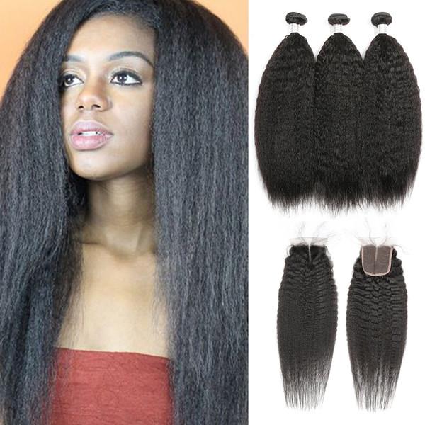 Raw Virgin Indian Hair Kinky Straight 3 paquetes con cierre Indian Kinky Straight Paquetes de cabello humano con cierre gratis / medio / tres partes