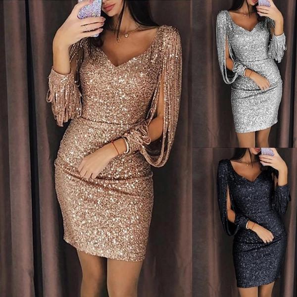 O 2018 mulheres novas vestido de dama de honra saia vestido e alto grau de lantejoulas saia lantejoulas Blingbling árabe Sheer Tripulação Pescoço Sereia Evening Dre