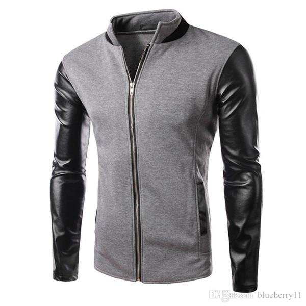 Inverno fresco jaqueta de beisebol da faculdade homens design de moda preto pu manga de couro mens slim fit jaqueta cinza