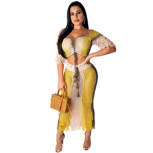 Tendances 2 pièces jupe haut ensemble nouvelle mode sexy grille de gaze voir à travers un gland creux épaule femmes crop top midi maxi club robe de soirée