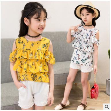 Kids girls sleeveless suit 2019 summer children Chiffon casual girls cupcake T-shirt big virgin piece shorts girl clothes 3-13