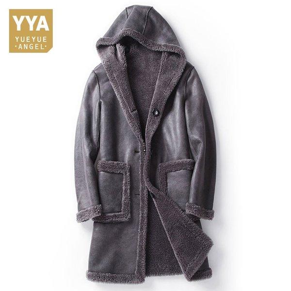Hiver hommes à capuche Veste en peau de mouton laine Doublure chaude à mi long manteau de fourrure réel Slim Fit homme d'affaires en cuir véritable Vestes M-5XL