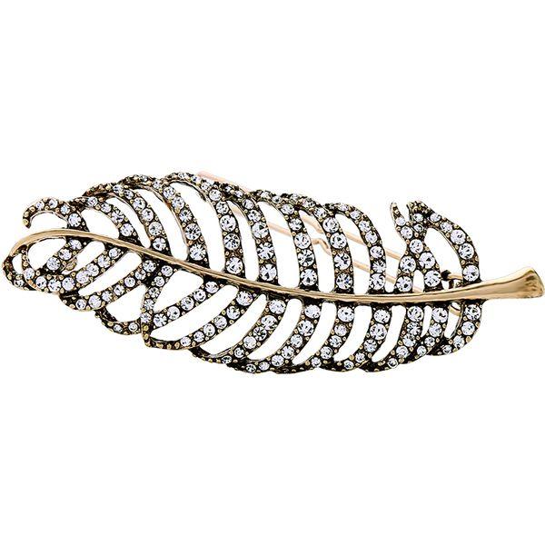 бесплатная доставка 6 шт. / лот мода ювелирные изделия аксессуары для волос заколка украшения металл горный хрусталь перо заколка роскошные ювелирные изделия