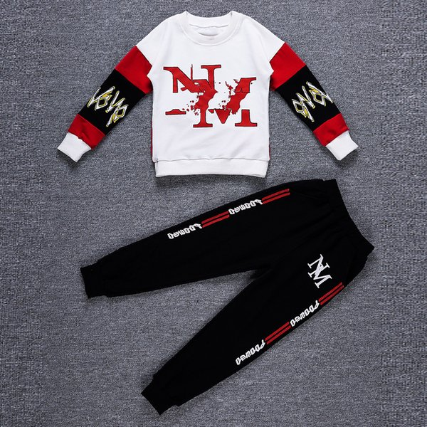 Baby Boys Hip Hop Clothing 2018 New Hip Hop Sports Two-piece Set 4-12 Years Old