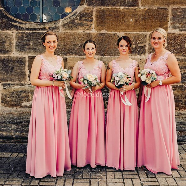 Stylish Lace Long Bridesmaid Dresses 2019 Scalloped Neck Backless Chiffon Country Wedding Guest Gowns Plus Size Maid Of Honor Dresses Custom