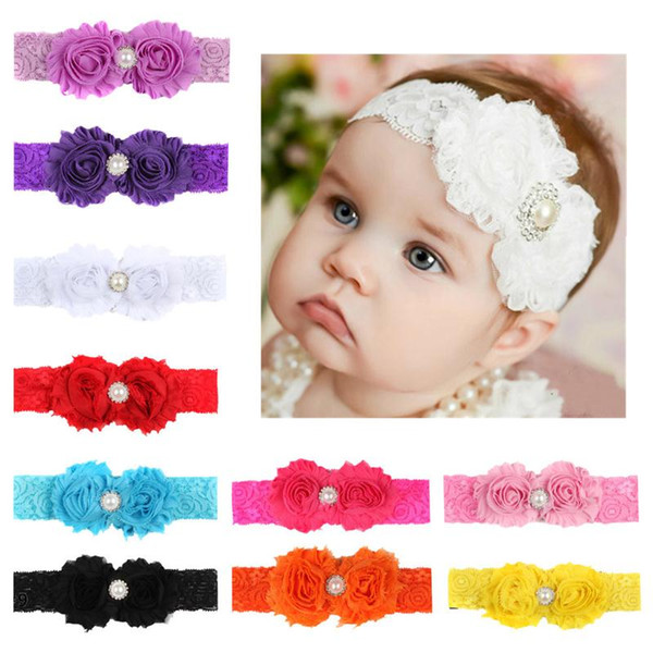 Chiffon Flowers Baby Headbands Lace Flower Hair band Crystal Rhinestones Pearl Kids Elastic Wide Headwear Headwrap Children Hair Accessories