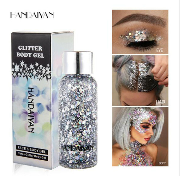 HANDAYAN Eye Glitter Hair Body Face Glitter Gel Art Flash Heart Loose Sequins Cream for Festival Glitter Decoration Party Festival