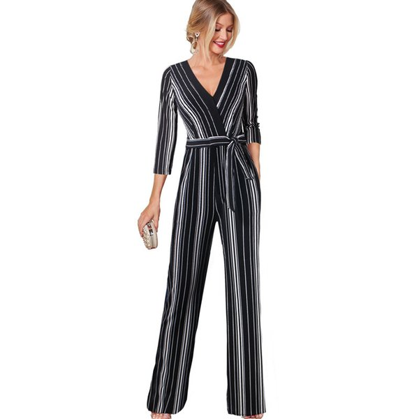 Vfemage Womens Fashion Striped Printed Pocket Wide Leg Evening Party Casual Streetwear Long Pants Overalls Rompers Jumpsuits 012 Y19051501