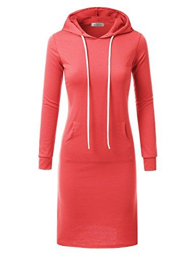 Doublju Hoodie Midi Dress for Women with Plus Size