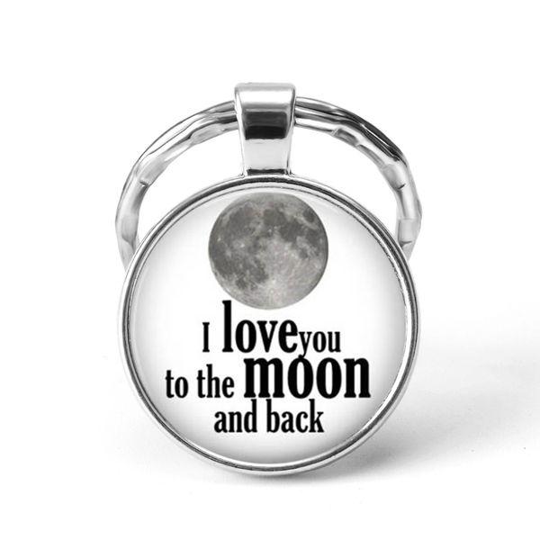 Eu te amo para a lua e volta dos namorados chaveiro amor jóias de vidro pingente de chaveiros para casais presente para amante