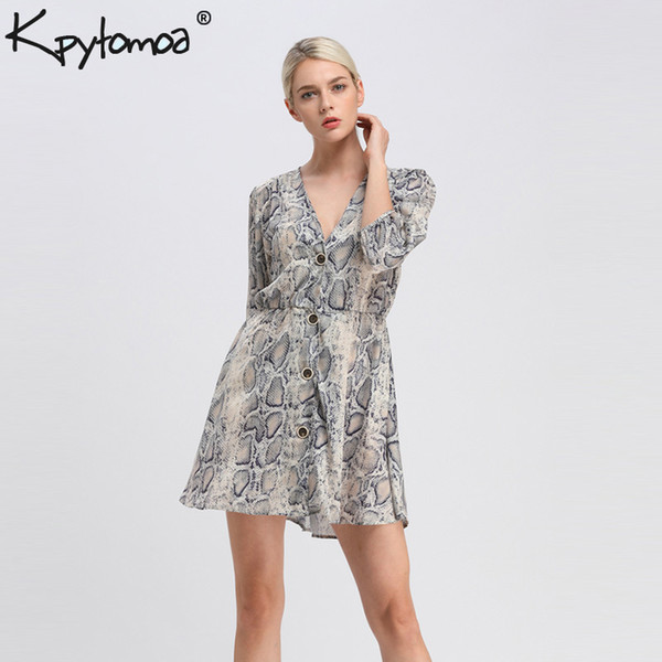 Vintage Flowy Snake Skin Print Mini Dress Women 2018 Fashion Summer V Neck Buttons Pleated Sexy Dresses Casual Vestidos Mujer Y19012102