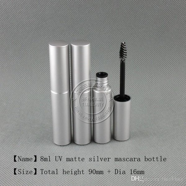 250pcs/lot Free Shipping 8.0ml UV matte silver mascara plastic bottle packaging empty mascara cream tube