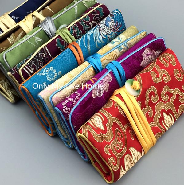 Portable Jade Jewelry Chain Roll Travel Case 3 Zipper Pouch Bag Women Gift Silk Brocade Cosmetic Bag Folding Makeup Storage Bag 10pcs/lot