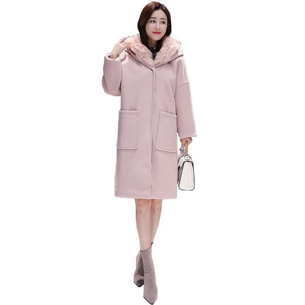 2019 Nuovo cappotto caldo da donna Parka Collo di pelliccia Giacca con cappuccio Rosa Giacca per il tempo libero Parka femminile Plus Size Tenere in caldo Tuta sportiva invernale