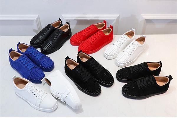 Marca nuevo pico de cuero del diseñador rojo brillaba zapatillas de deporte superiores de cristal calzados informales de baja del partido unisex para hombre y para mujer zapato rojo grande EUR35-46 tamaño