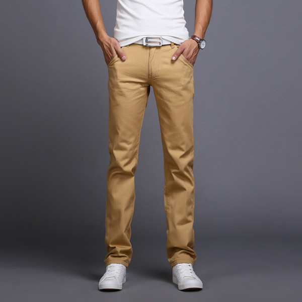 Atacado-2016 novos homens de negócios casuais calças slim mid-cintura calças moda mens reta calças de carga marca chinos clothing homme b086