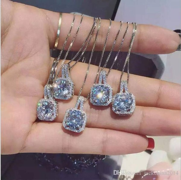 Fashion Simple Jewelry 925 Sterling Silver Round Cut 5A Cubic Zirconia CZ Party clavicle Chain Diamond Women Cute Necklace Pendant Gift
