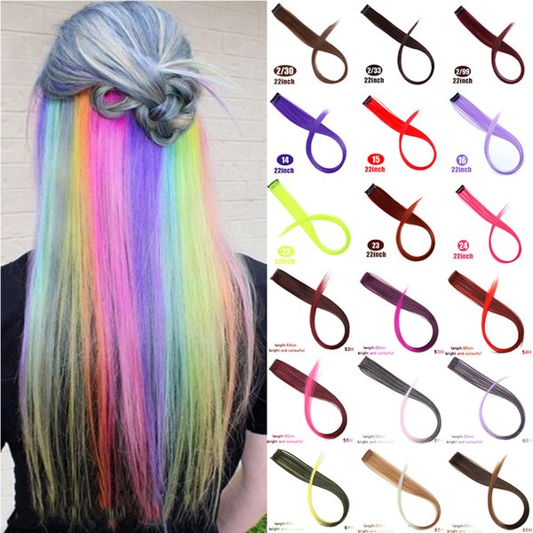 MUMUPI Long Straight Fake Colored Hair Extensions Clip In Highlight Rainbow Hair Streak Pink Synthetic Strands on Clips