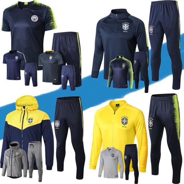 Top quality 2018 Coppa del mondo brasiliano Completo blu mezza tuta da allenamento Set da allenamento in brazil tuta sportiva giacca giacca a vento tuta corta