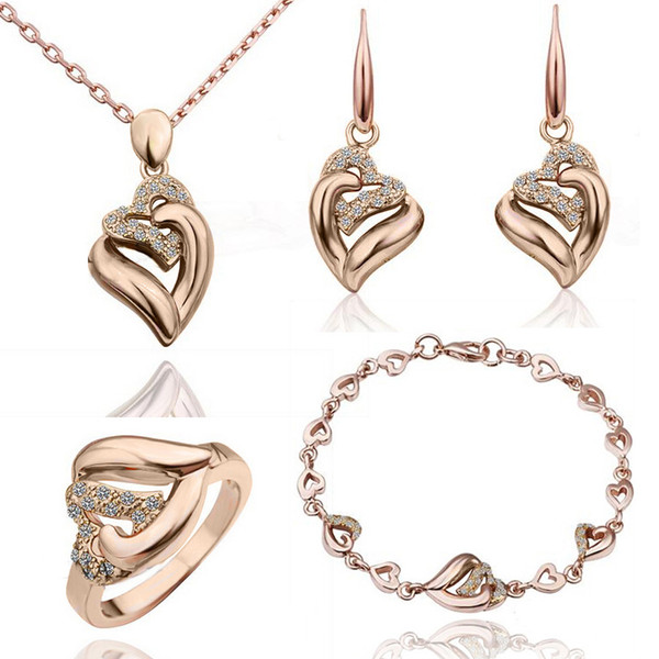 High-end headpieces, heart-shaped Czech diamonds, four sets of crystal necklaces, earrings, rings, bracelets, wholesale sales.