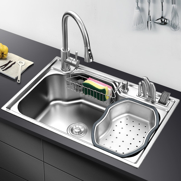 top popular kitchen sink above counter or udermount sinks vegetable washing basin stainless steel single bowl 1.2mm thickness sinks kitchen 2021